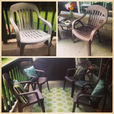 Redoing plastic lawn chairs so you don't have to buy new furniture! So cute and inexpensive
