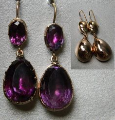 """Amethyst top & drop foiled earrings,  foiled set in gold English circa 1780"""