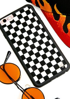 Wildflower Check Plz! iPhone Case we're walkin' into spiderwebs, leave a message and we'll call you back! Screen yer calls with this this turnt N' tough phone case featuring a limited edition checkered design, super durable and protective construction with polyurethane black rubber bumper, 'wf' brand emblem, and raised bumper around the front that adds a extra protection for your screen.
