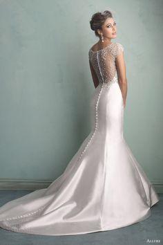 allure bridals fall 2014 wedding dress crystal studded illusion back 9158