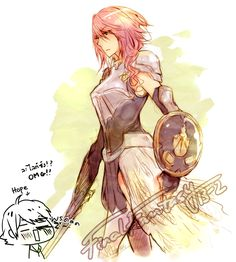 I have no idea why the artist decided to draw a little chibi Hope in the corner and ruin this, but they did. Lol. At any rate, I looooove the way they drew and colored Lightning.