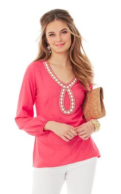 Lilly Pulitzer Violet Beaded Tunic, island coral