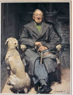 'Hans and dog' by Robert Hannaford, australian painter. This man has a quiet, sombre dignity in his grey double-breasted overcoat and trousers with turn-ups - he looks as if he had plenty of stories to tell. The back of the dog is beautifully painted - like this.