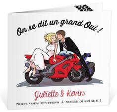 Faire part mariage humoristique avec ses illustrations spéciales motards, ref N45140