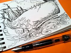 Moby Dick sketched with a Noodler's Ahab flex pen.