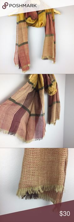 """Plaid Red Green Yellow Lightweight Frayed Scarf •Red Yellow Green Plaid Lightweight Soft Frayed Scarf •In excellent used condition •All measurements are approximate: 80"""" length Accessories Scarves & Wraps"""