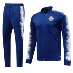 Chelsea Training Kits (Blue White Jacket + Trousers) 2018-19 Cheap football 86f2e593a