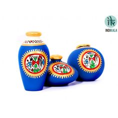 Blue Terracotta Warli Hand painted Miniature Pots : Set Of 3 At www.indikala.com