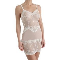 Wacoal Embrace Lace Chemise , Nude ($77) ❤ liked on Polyvore featuring intimates, chemises, nightwear, nude, sheer lingerie, lace cami, lace slip, see through lingerie and lingerie chemise
