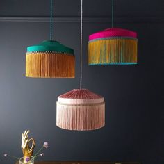 Just working on some more lampshades to add to the new T I F F A N Y range. Lots… Just working on some more lampshades to add to the new T I F F A N Y range. Lots of scallops, fringe and a touch of dip dying. Ceiling Lamp Shades, Chandelier Shades, Decoration Inspiration, Interior Inspiration, Lamp Shade Frame, Deco Boheme, Room Lamp, Dark Interiors, Light Design