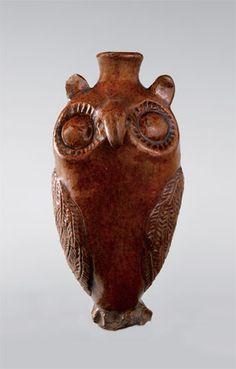 """Owl bottle, Salem, North Carolina, 1804-1840. Lead-glazed earthenware. H. 5 1/2"""". (Old Salem Museums & Gardens.) ---"""