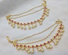 Handmade jewellery and accessories India Jewelry, Ear Jewelry, Temple Jewellery, Jewelry Sets, Gold Jewelry, Jewelery, Gold Earrings Designs, Gold Jewellery Design, Jewellery Diy