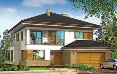 Opal to projekt domu jednorodzinnego dla rodziny cztero-pięcioosobowej. Dom jest piętrową miejską willą o nowoczesnej architekturze, przekrytą czterospadowym dachem. Zwarta bryła budynku z dobudowanym garażem i podcieniem od strony ogrodu, została ciekawie ozdobiona klinkierowymi i drewnianymi okładzinami elewacji, oraz loggiami, podcieniem wejściowym i dużym balkonem z tyłu domu.