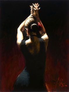 Flamenco Dancer flamencodancerinblack Painting
