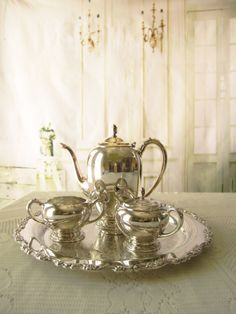 Vintage Silverplate Tea Set Service Set With Tray by InventifDesigns on Etsy