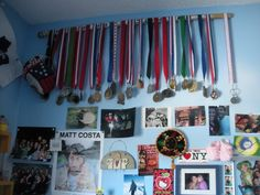 Using little Monkey's first stick to do this for all those medals she keeps bringing home. Love this!