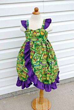 TMNT Avee Dress  You choose Ruffle color by KSMonkeysBoutique, $85.00