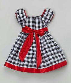 Satiny trim and a blossom accent complete this classic plaid look with shimmery polish. One quick zip ensures effortless dressing. Girls Frock Design, Kids Frocks Design, Baby Frocks Designs, Baby Dress Design, Baby Girl Frocks, Frocks For Girls, Toddler Girl Dresses, Little Girl Dresses, Girl Toddler