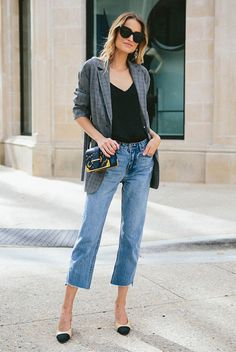 black cami top, raw hem crop jeans, beige cap toe heels, black cat eye sunglasses, black shoulder bag - Fall outfits, fall fashion trends 2017, fall trends 2017, grey blazer outfits, check blazer outfits, plaid blazer outfits, glen plaid blazer, prince of wales blazer, street style, casual outfits, street chic style.