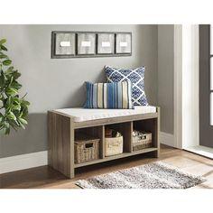 Avenue Greene Furniture Sonoma Oak Storage Bench with Beige Cushion