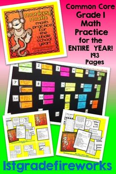 Grade 1 Common Core STANDARDS Practice...for the ENTIRE  YEAR! https://www.teacherspayteachers.com/Product/Monkey-Math-for-the-ENTIRE-YEAR-1461597 Math Skill Cards aligned to CCSS 20 skills for Grade 1 Cards for Bulletin Board display. Print cards, place in pockets, attach to wall. Student printables for accountability.