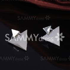 Pair of Trendy Solid Color Asymmetric Triangle Shape Earrings For Women