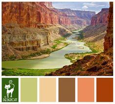 Grand Canyon - Green, leaf, beige, sand, peach, brown - Designcat Colour Inspiration Pallet