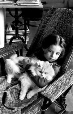 "modijeanne: ""Melanie Cartier-Bresson & cat 1978 - © Henri Cartier-Bresson """