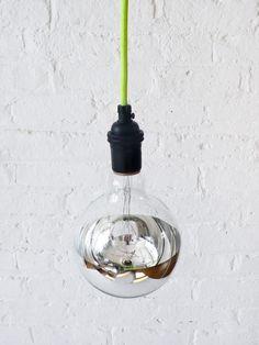 Neon Green/Yellow Pendant Light Cord w/ Giant Silver Globe Bulb. $95.00, via Etsy.