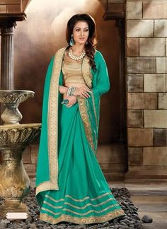 Emerald Green Silk Saree ,Indian Dresses