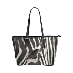 Zebra Leather Tote Bag/Large. FREE Shipping. #artsadd #bags #zebra