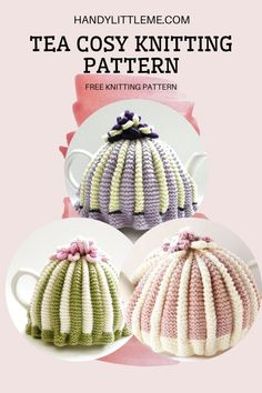 Tea Cosy Knitting Pattern. Make a retro style tea cozy with this free knitting pattern. This tea cosy pattern is an easy knit, using two colours. You can add flowers on the crown or pom poms. #teacosy #teacozy #knitting #knittingpattern #knitcozy Free Knitting Patterns For Women, Beginner Knitting Patterns, Easy Knitting, Knitting Ideas, Knitting Projects, Crochet Patterns, Tea Cosy Knitting Pattern, Tea Cosy Pattern, Free Pattern