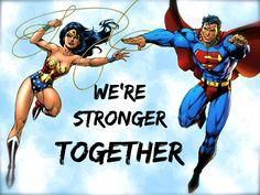 Superman and wonder women Wonder Woman Kunst, Wonder Woman Art, Wonder Women, Wonder Woman Y Superman, My Superman, Superman Quotes, Batman Art, Batman Robin, Marvel Dc