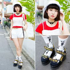 Sumie is a 23-year-old girl we've run into a few times in Harajuku recently. Her look here features a jouetie bustier over a crop top, WEGO(ウィゴー) shorts, STYLE ICON TOKYO girl-with-gun socks, and LOWRYS FARM / ローリーズファーム platform sandals. -TokyoFashon