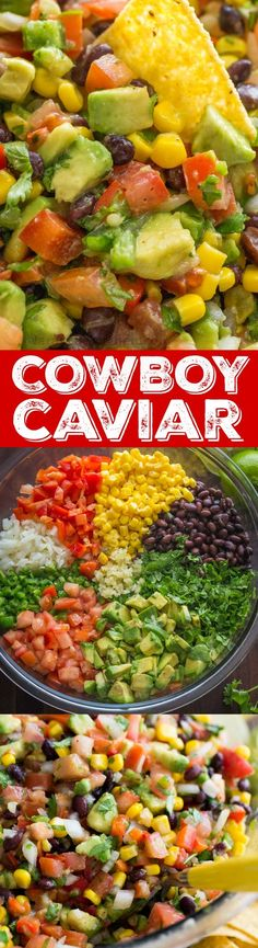 Cowboy Caviar Salsa Recipe that is loaded with avocado, tomatoes, beans, corn and a secret ingredient that takes this salsa over the top. Texas caviar is a crowd pleasing appetizer that always disappears fast! Mexican Food Recipes, Vegetarian Recipes, Cooking Recipes, Healthy Recipes, Ethnic Recipes, Carrot Recipes, Pizza Recipes, Fish Recipes, Chicken Recipes