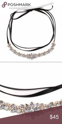 ✨SALE The 'Lena' Choker The 'Lena' choker is one of the many Hautecoco chokers that add a wow factor to any look. The beautiful floral detail adds a feminine element to an edgy choker! This choker is sure to be a holiday favorite, get yours before it's too late!  M A T E R I A L Faux Leather 'Chain' with Zinc Alloy & Crystal  C O L O R S Silver Crystal, & Black Faux Leather  'Chain'  NO TRADES Hautecoco Jewelry Necklaces