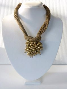 Jewerly Linen Necklace Golden Pearls Macrame Necklace by Cynamonn, $40.00