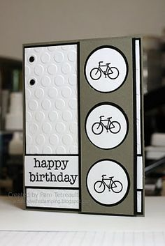 "handmade birthday card from airbornewife's stamping spot: Hero Arts ""Happy Birthday"" bicycle card ...white and gray with black ink brads and mats ... like the strong graphic look ..."