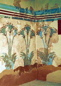 Akrotiri: sea daffodils fresco, Room of the Ladies from house of the same name