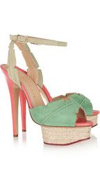 CHARLOTTE OLYMPIA  Isla palm leaf suede and leather sandals