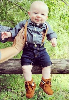Super cute bow tie, suspenders, and moccasins, all from @sweetnswag is the perfect gear for a ring bearer of any age!