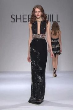 Embellished Halter Black Prom Maxi Dress / Gown with Deep Neck and Back Cuts, and a small Train. Runway Show by Sherri Hill. Fashion Show Dresses, Couture Dresses, Fashion Outfits, Beautiful Gowns, Beautiful Outfits, Couture Fashion, Runway Fashion, Event Dresses, Prom Dresses