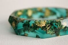 Emerald green with gold flakes eco resin faceted by RosellaResin, $65.00