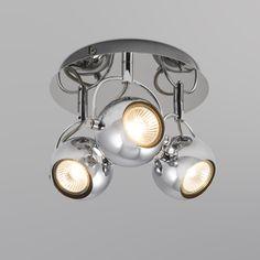 Strahler Buell 3 chrom: Schöne Kugelleuchte für Ihr Zuhause oder Büro in attraktivem Retro-Look. Durch Chrom-Finish und GU10-Fassungen dennoch modern! Dank dreh- und schwenkbaren Kugeln besonders praktisch - so leuchtet das Licht genau dort, wo Sie es brauchen! #Innenbeleuchtung #strahler #lampe #einrichten #wohnen