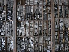 Type Drawers-- For those of us that love things of old, typesetters' drawers are often a particular love. And what's not to love? Nostalgia, nooks, crannies & so many possibilities– from their original use to furniture or a way of displaying momentos.