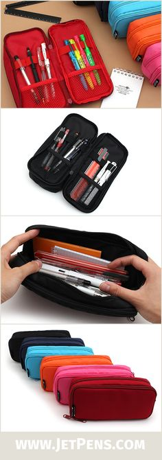 The roomy Cubix Round Zip Box Pen Case can fit a huge pen collection! One side is a pen organizer, while the other side is a large compartment for storing bigger items.