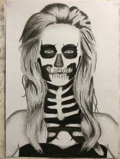 Charcoal and pencil drawing- By Ashleigh Hunter- girl with skull makeup