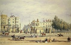Grosvenor Gate and the New Lodge, 1851 (w/c on paper) Wall Art & Canvas Prints by Thomas Hosmer Shepherd