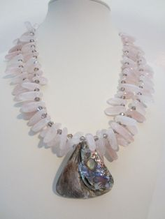 Rose Quartz Statement Necklace with shell pendantBeach by yasmi65, $38.00