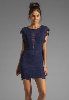 NIGHTCAP Caletto Victorian Lace Mini Dress in Blue Orchid at Revolve Clothing - Free Shipping!